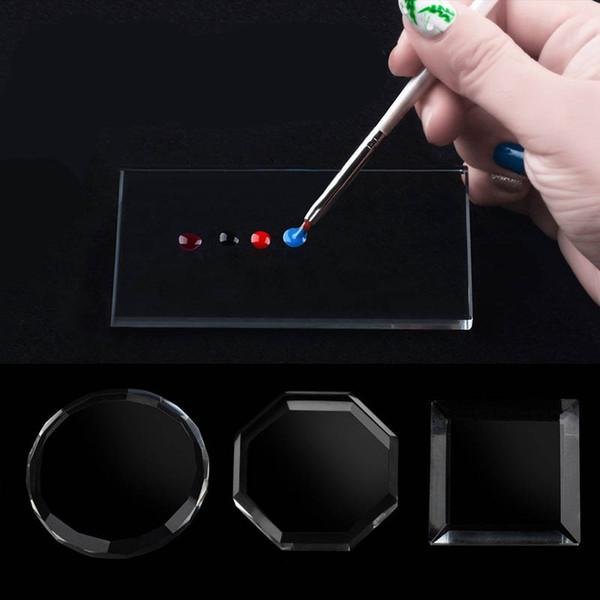 Nuovo tavolozza di pittura di pigmento di vetro trasparente spatola mescolando spatola manicure nail art strumento unghie piatto 4 modelli multiuso 2017