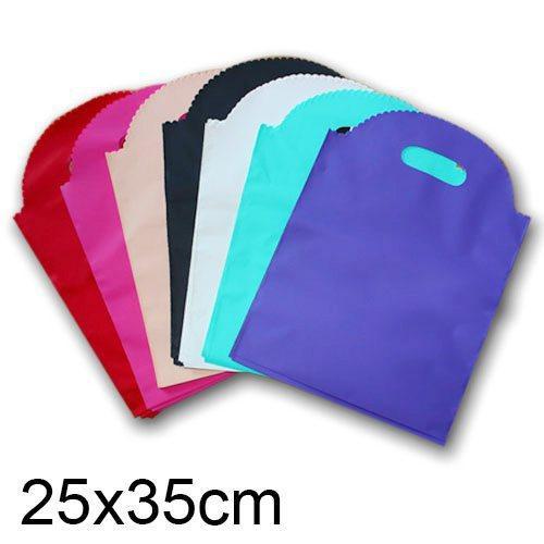 Sacs de cadeau en plastique bleu 300pcs Matt, sacs à provisions en plastique, paquet de cadeau de festival 25x35cm