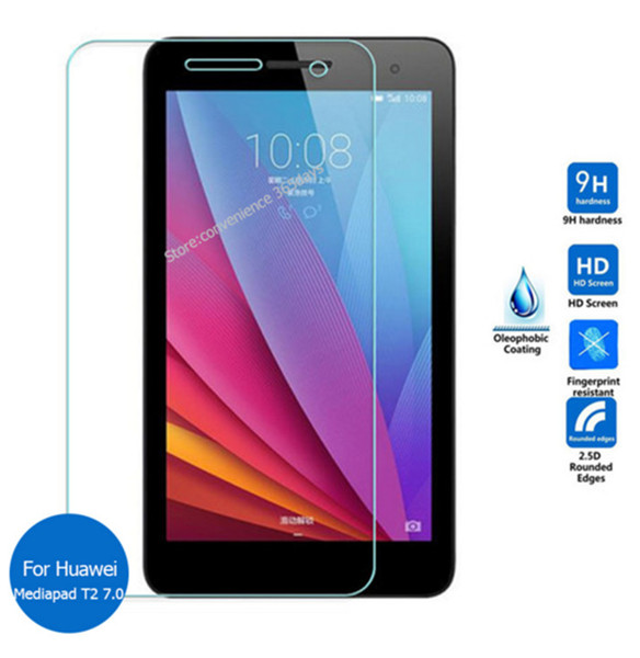 "Wholesale- 9H Tempered Glass Screen Protector Film For Huawei Mediapad T2 7.0 BGO-DL09 BGO-L03 7"" + Alcohol Cloth + Dust Absorber"