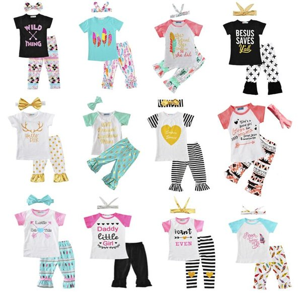 Newest Girls Childrens Clothing Sets Short Sleeve tshirts Pants Headwear 3 Piece Set Letters Arrow Kids Clothes Suits Boutique Clothing