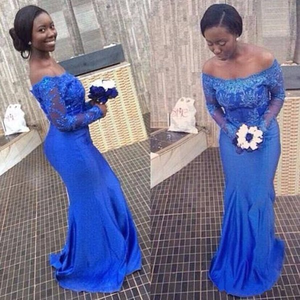 Brilliant Blue Portrait Evening Dress A Line African Scoop Stain With Lace Train And Long Sleeve Formal Dresses New Excellent Quality
