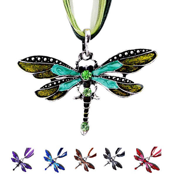 New Hot Fashion Dragonfly Charm Pendant Necklace for Women Retro Gem Tone Epoxy Enamel Necklaces Lace Wax Rope Chain Vintage Silver Jewelry