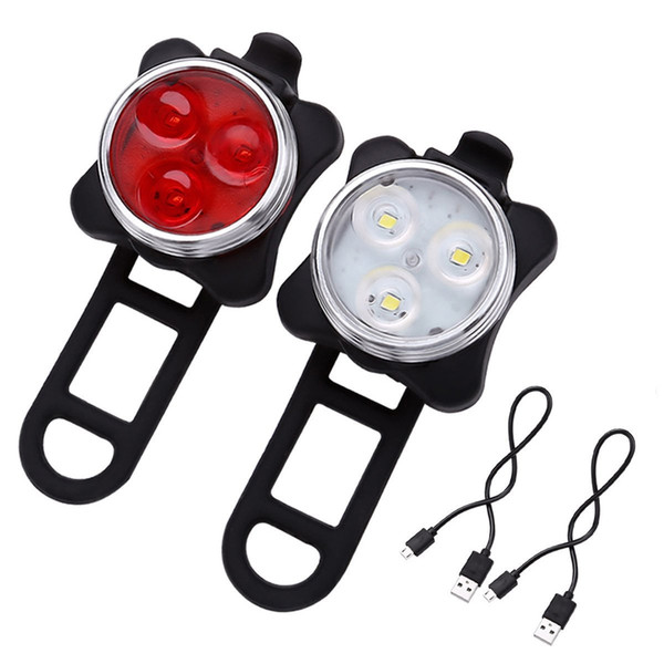 top popular Bicycle MTB light Bike USB Rechargeable light 160LM 3 LED Head Front Rear Tail Clip Light Lamp Bike lights 2 Colors DHL Free 2019
