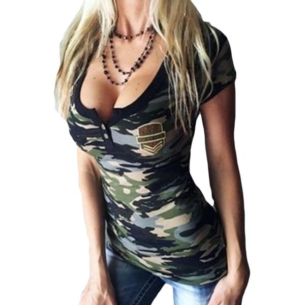 Wholesale- Camouflage T-Shirts For Women Summer 2017 Sexy Deep V Neck Low Cut Badnage Shirt Short Sleeve Women T-Shirt