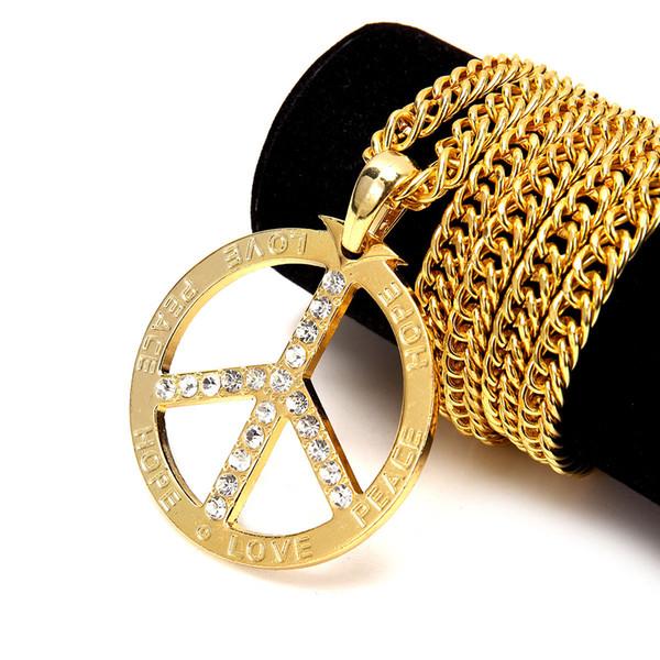 Hip Hop Kolye 18 K Altın Gümüş Kaplama Kristal LovePeaceHope Dairesel Kolye Kolye Küba Zincir Erkekler Kadınlar Kolye Kolye Takı