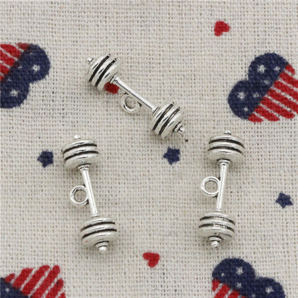Wholesalecs- 93pcs Charms fitness equipment barbell 25*7*7mm Pendant,Vintage Tibetan Silver,For DIY Necklace&Bracelets Jewelry Accessories