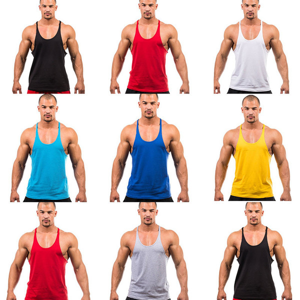 Mens Vest Cotton Stringer Bodybuilding Equipment Fitness Gym Tank Top shirt Solid Singlet Y Back Sport clothes Vest 7 Colors Cotton Vest