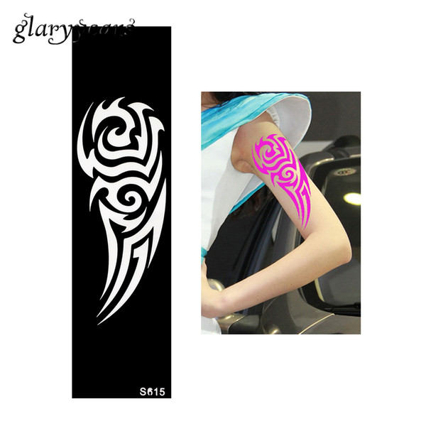Wholesale-1 Piece Indian Henna Tattoo Stencil Long Strip Heart Design Female Arm Shoulder DIY Body Art Paint Tattoo Stencil Temporary S615