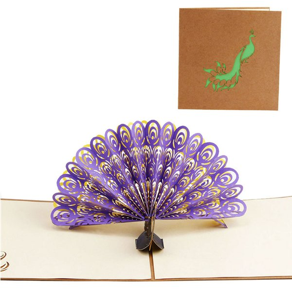 2017 Pop Up 3D Card Peacock Design Birthday Wedding Party Greeting Card 100% brand new and high quality