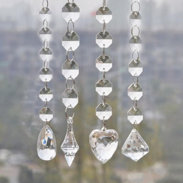 1 Meters Shine Acrylic Crystal Bead Garland Strand 14 mm Bead Chains Drop Pendant Wedding Centerpiece Manzanita Tree Party Wedding Decor