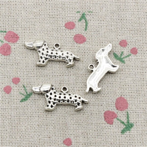 55pcs Charms dog dachshund 26*21mm Antique Silver Pendant Zinc Alloy Jewelry DIY Hand Made Bracelet Necklace Fitting