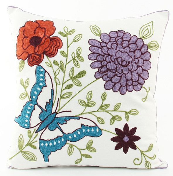 Flower And Butterfly Embroidered Cushion Cover American Pastoral Plant Floral Embroidery Cushion Covers Sofa Decorative Cotton Pillow Case