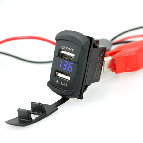 Atacado- Novo in1 Rocker Style com LED vermelho azul Display Digital Voltímetro 4.2A Dual USB Black Car USB carregador com voltímetro