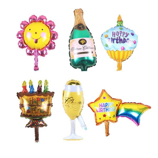 Nuovo 1PCS mini Girasole Wineglass Star birra torta aerostati della stagnola dell'elio festa di compleanno palloncini animali a tema suppies del partito