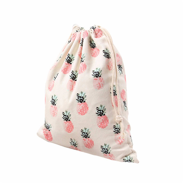 Wholesale- 2017 free shipping fashional Pineapple Printing Drawstring Beam Port bag for Storage Travel Cosmetic or Gift F2 1