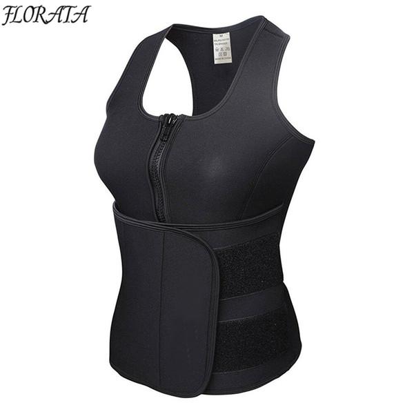 Wholesale- FLORATA New Vest Body Shaper Slimming Waist Trimmer Trainer Belt Women Shapewear Weight Loss Neoprene Sauna Tank Top Sweat Belt