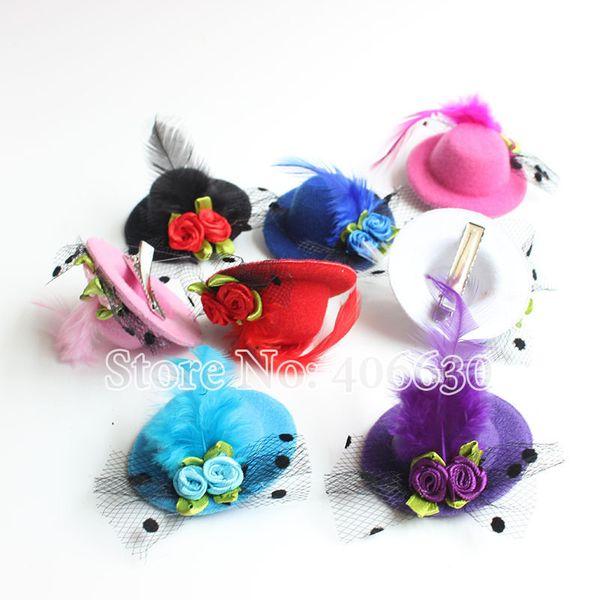 5cm Fashion Hairpins Children 'S Hair Accessories Girls Mini Top Hat Kid Hair Clips Solid Headwear 48pcs /Lot Free Shipping Mff05 -003