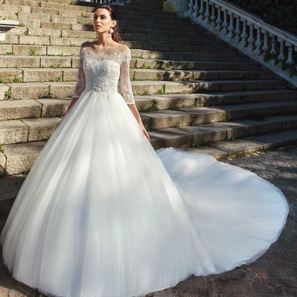 Venta al por mayor Nuevos vestidos de novia únicos una línea pura ...
