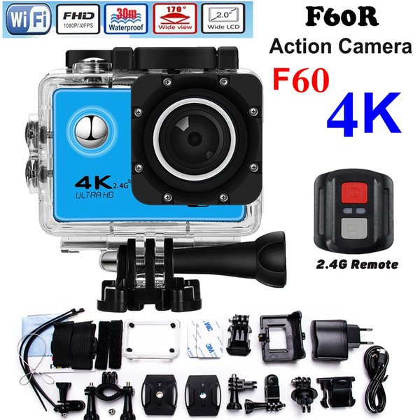 2017 New F60/F60R HD 4k Action Camera Wifi 2.0 screen 170 Wide Lens waterproof Action cam