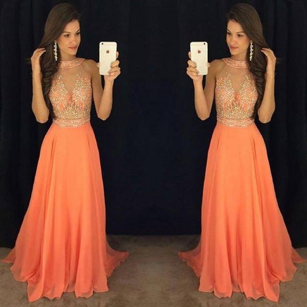 top popular Elegant Jewek Neck Chiffon A-line Long Evening Dresses Zipper Back Beaded Fashion Prom Dresses Evening Gowns Special Occasion Dresses 2019