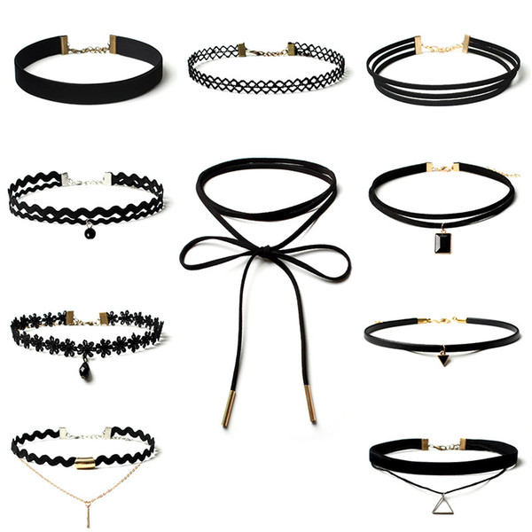 Collier Mode Vintage Stretch Perle Velours Collier Ras Du Cou Gothique Punk Grunge 80 s 90 s Noir Velours Tattoo Chokers 10 pcs / ensemble WX-N33