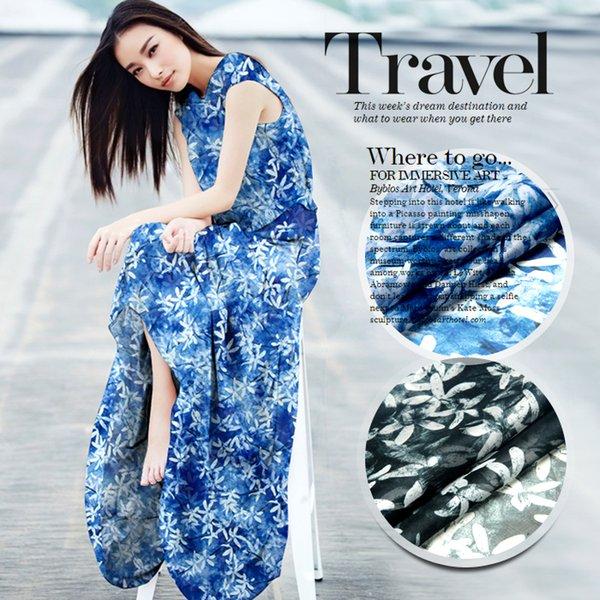 135 см шириной 8 мм белый цветочный принт тонкая шелковая шифоновая ткань для длинных и коротких платьев рубашки 2 цвета доступны D211