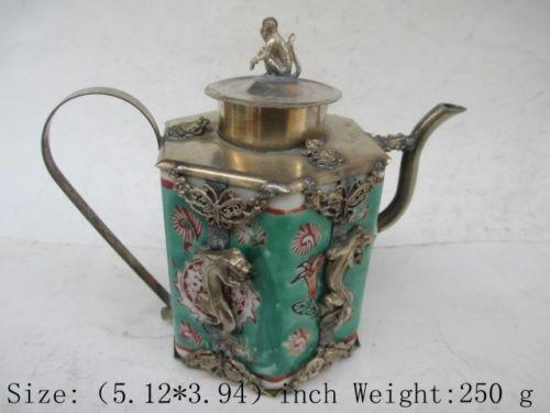 Exquisite Chinese ancient Tibetan silver monkey inlaid with ceramic teapot