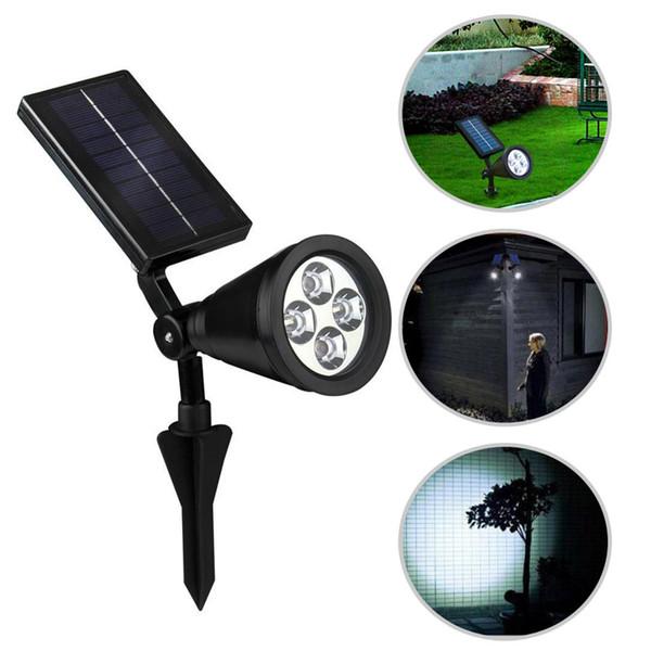 Nuevo arrvial Energía solar 4 LED brillante Blanco / Cálido Blanco Interruptor automático de color RGB 3 Exterior Jardín Sendero Parque Césped Lámpara Paisaje Spot Lights