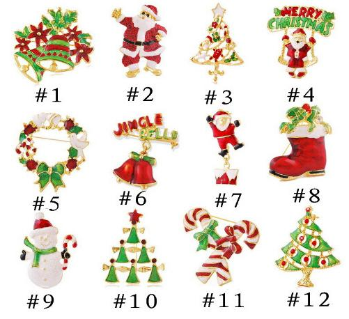 12 styles Christmas brooches with Santa Claus boots bell cane wreath snowman tree multi color crystal brooch pins accessories Hot sale