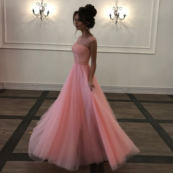 Pink Beaded Tulle Long Prom Dresses Scoop Neck Cap Sleeves Backless Evening Gowns Modest Evening Dresses Party Dresses