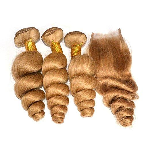 Wholesale Brazilian Light Brown Human Hair Wefts With Closure Loose Wave #27 Honey Blonde Virgin Hair 3Bundles With 4x4 Lace Closure