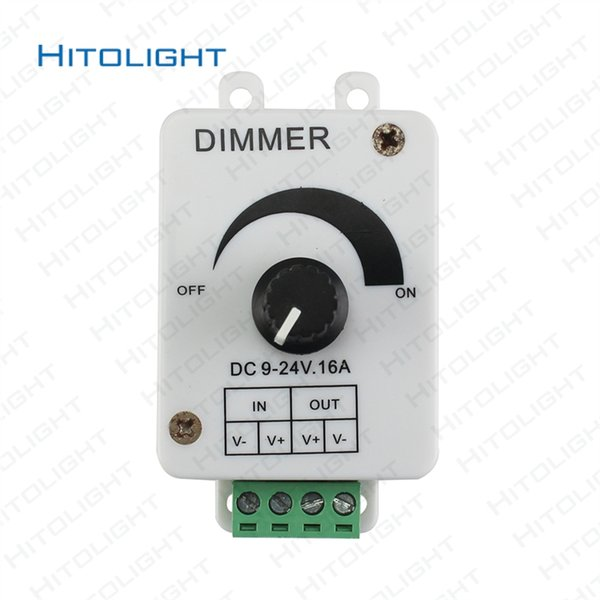 HITOLIGHT 16A DC12V-24V Single Color Knob Switch LED Light Dimmer Controller for 3528 Lighting Adjustable Brightness Manual Switch