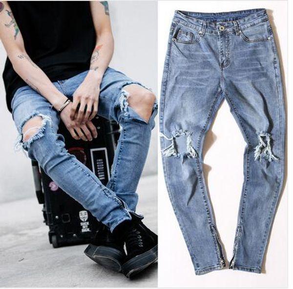 Al por mayor-FEAR OF GOD pantalones de los hombres estilo jumpsuit rock urbano apenado diseñador flaco cremallera rasgado agujero roto jeans de alta calidad