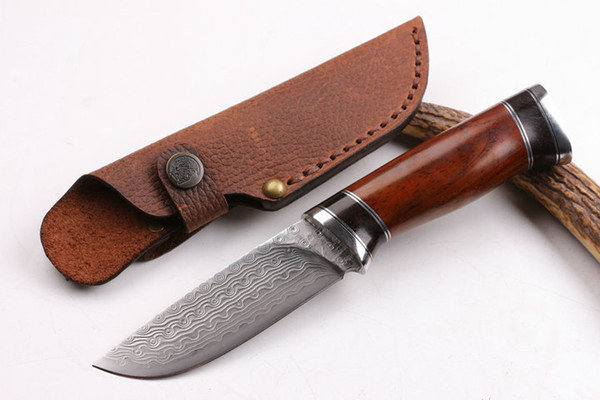 2016 New High End Pure hand made Damascus survival straight hunting knife Outdoor survival fixed blade knives with leather sheath