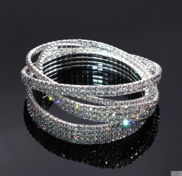 top popular Crystal Rhinestone STRETCH CZ Tennis Ankle Chain ANKLET Bracelet SEXY Women Summer Beach Sand Jewelry 1-4 Rows 30 pcs free shipping 2019