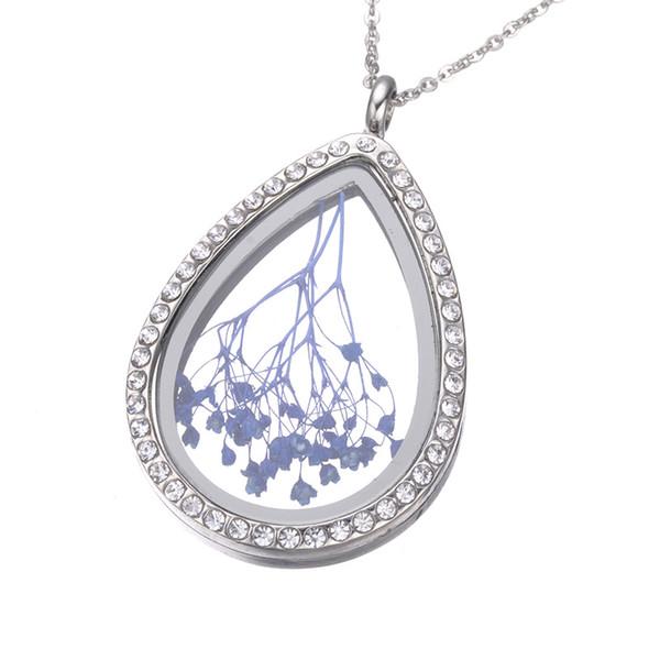 2 colores del corazón flotante Locket colgante collar de las mujeres de la vida magnética de cristal flotante Charm Locket cadenas DIY collares 161936