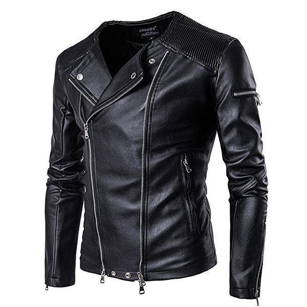 Winter jacket men coat slim bomber Travel waterproof long sleeve Zipper faux genuine leather PU motorcycle black jackets
