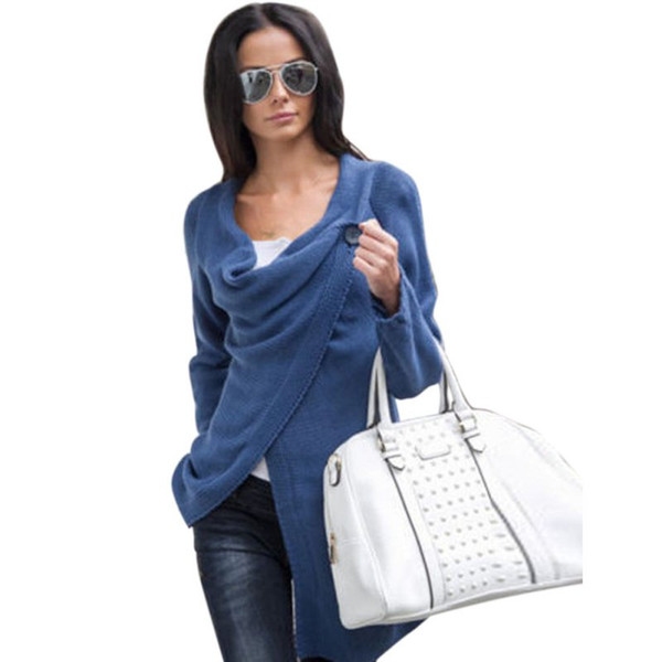 Al por mayor- Las mujeres de moda suéter flojo Outwear de manga larga de punto cardigan especial diseño Casual Sweater 4 colores