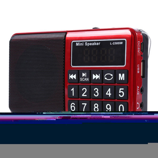 Wholesale-L-238SW Portable Mini MW FM Radio USB Music Speakers Digital Multifunctional Full Band Radio Player Receiver Support MP3 TF Card