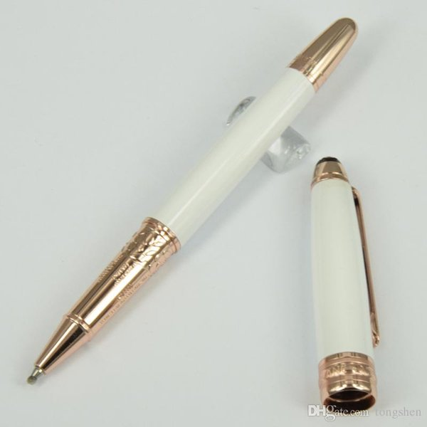 Free Shipping - High quality Luxury pen MB-163 white ceramic pen rose/golden/silver clip stationary roller ball pens fast delivery dhl