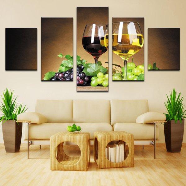 Decorazione della casa 5 pezzo Tazze di vino immagini su tela pittura a olio su wall art per soggiorno stampa decor economici moderni (no frame)