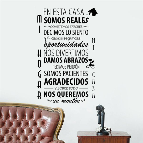 In This House Wall Stickers Spanish Text Home Decor Living Room Wall Decals  Vinyl Removable Character Sticker Decals For Home Decals For Home ...