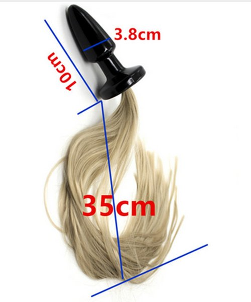 Dia 3.8 CM Big Silicone Anus Bead Butt Plug , Horse Fox Tail Anal Plug In Adult Games , Sex Flirting Toys For Women