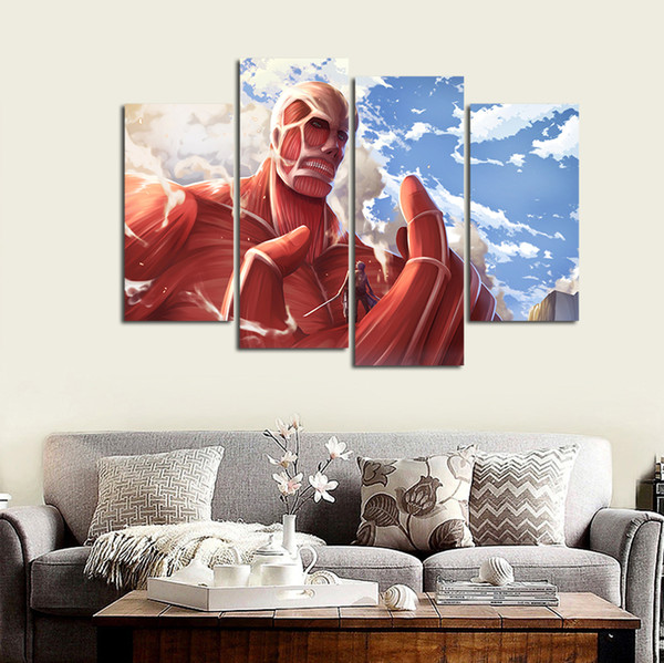 4pcs/set Wall Art Picture:Japanese Anime Attack on Titan Big Han Spray Painting on Canvas Unframed Landscape Print Wholesale Home Decoration
