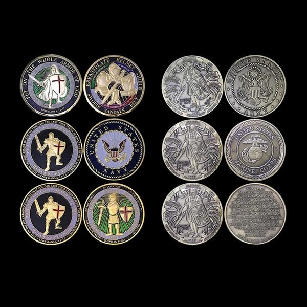 6PCS / LOT Ponte toda la armadura de Dios UNITED STATES MARINE CORPS Armor of God Reza Always Military Challenge Coin 6 diseños