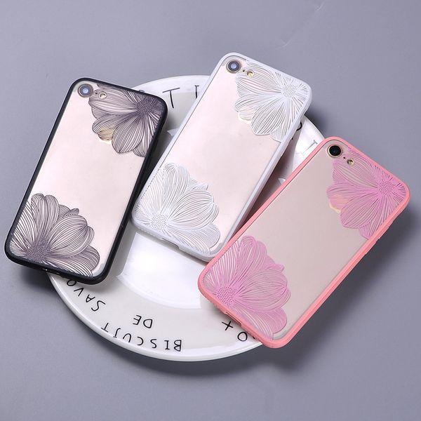For iPhone 7 7Plus 6 6S 6Plus 5 5S Sexy Fashion Lace Lotus Floral Korea Flower Art Soft Clear Phone Cover Case Coque Fundas