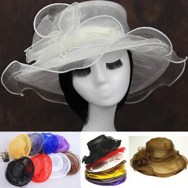 new arrival womens Organza Hat Kentucky Derby Wedding Church Party Floral Hat wide brim sun summer hats for women 9 colors top quality