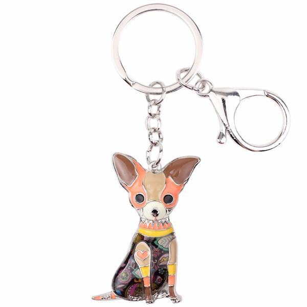 Key Rings Enamel Chihuahuas Dog Key Chain Ring Pom Gift For Women Girl Bag Pendant 2018 New Charm Key chain Fashion Jewelry