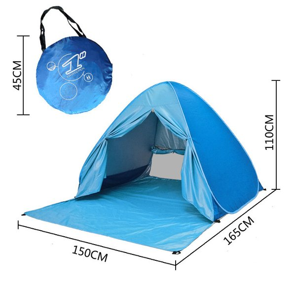 Graduation Travel Camp Beach Lawn Tents Quick Automatic Opening Tent Outdoors Gear UV Protection 50+ Tent for 2-3 People 10 pcs DHL/Fedex
