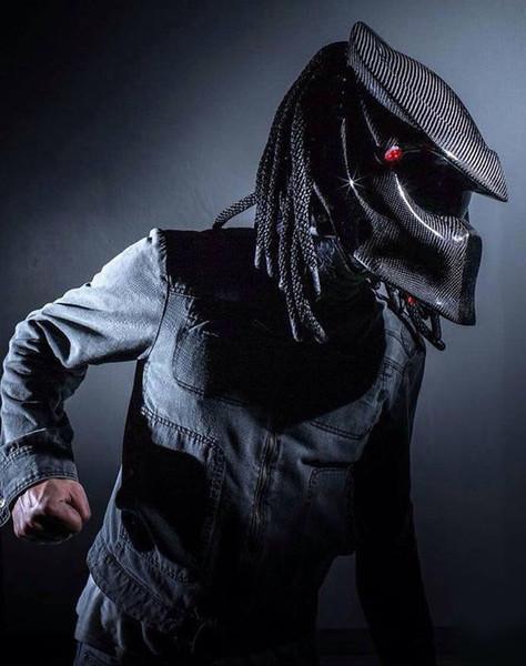 Wholesale- 2017 New Predators mask carbon fiber neca motorcycle helmet Full face iron man moto helmet Safety DOT High quality black visor